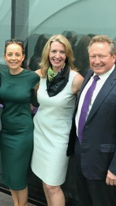 Liz Dawes (centre) with Carrie Bickmore and Andrew (Twiggy) Forrest at the announcement at Victorian Comprehensive Cancer Centre (VCCC)